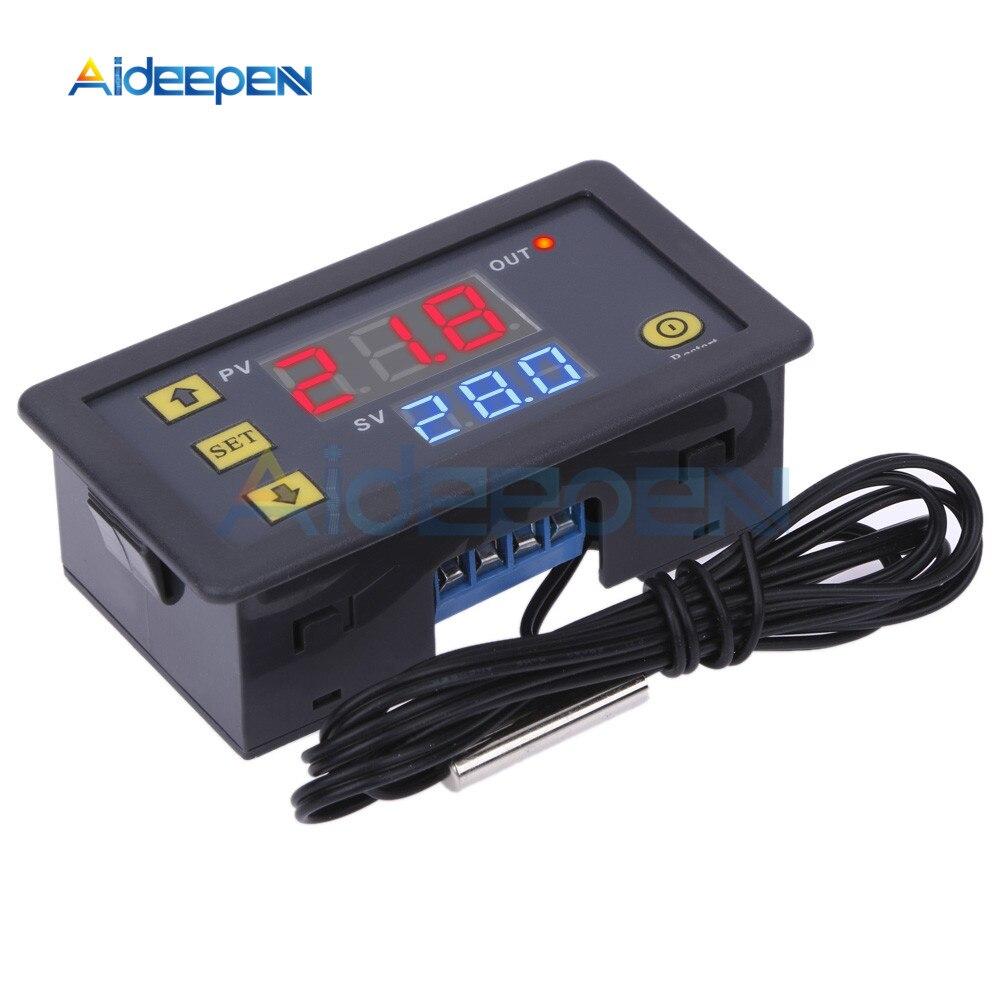 Aletler'ten Sıcaklık Cihazları'de W3230 DC 12V 24V 110V 220V AC dijital sıcaklık kontrol cihazı LED ekran termostat isıtma soğutma anahtarı NTC sensörü