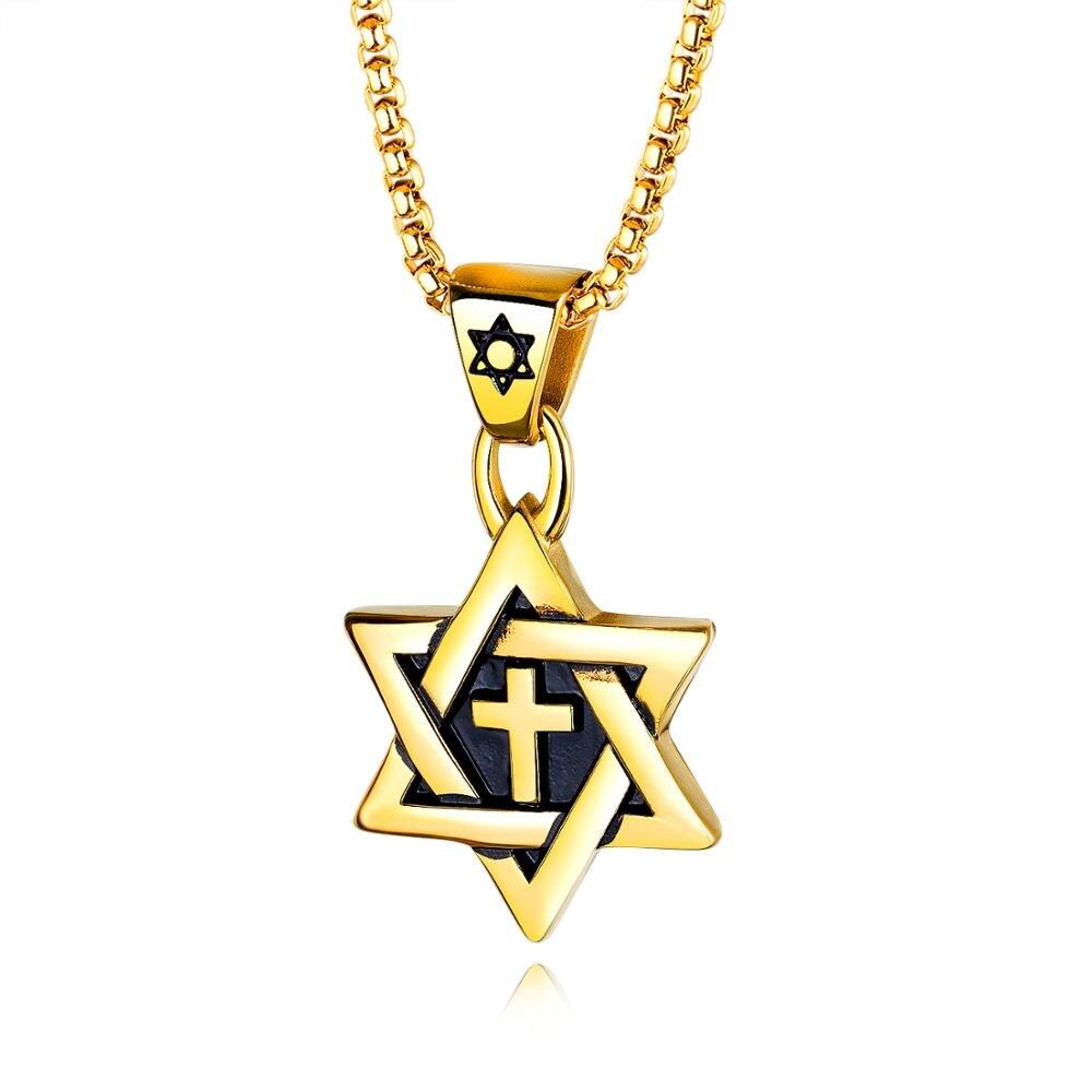 Collier croix homme OPK six étoiles étoile marée mâle titane acier ornements pendentif rétro - 5