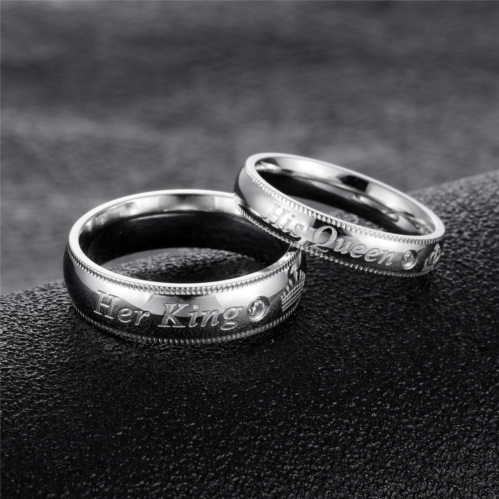 Top Quality Stainless Steel Zircon Silver Letters Ring Trendy Wedding Engagement Lover Couple Rings Anniversary Jewelry Gift