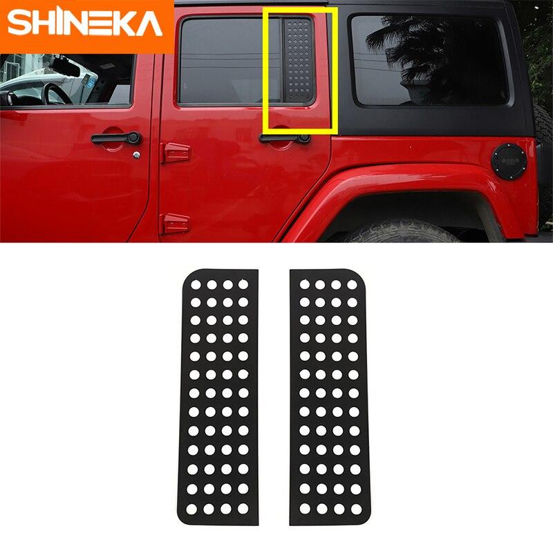 SHINEKA Auto Außen für Jeep Wrangler JK 2007-2017 4 Türen Hinten Auto Tür Dreieck Glas Panel Trim Abdeckung dekorative Aufkleber