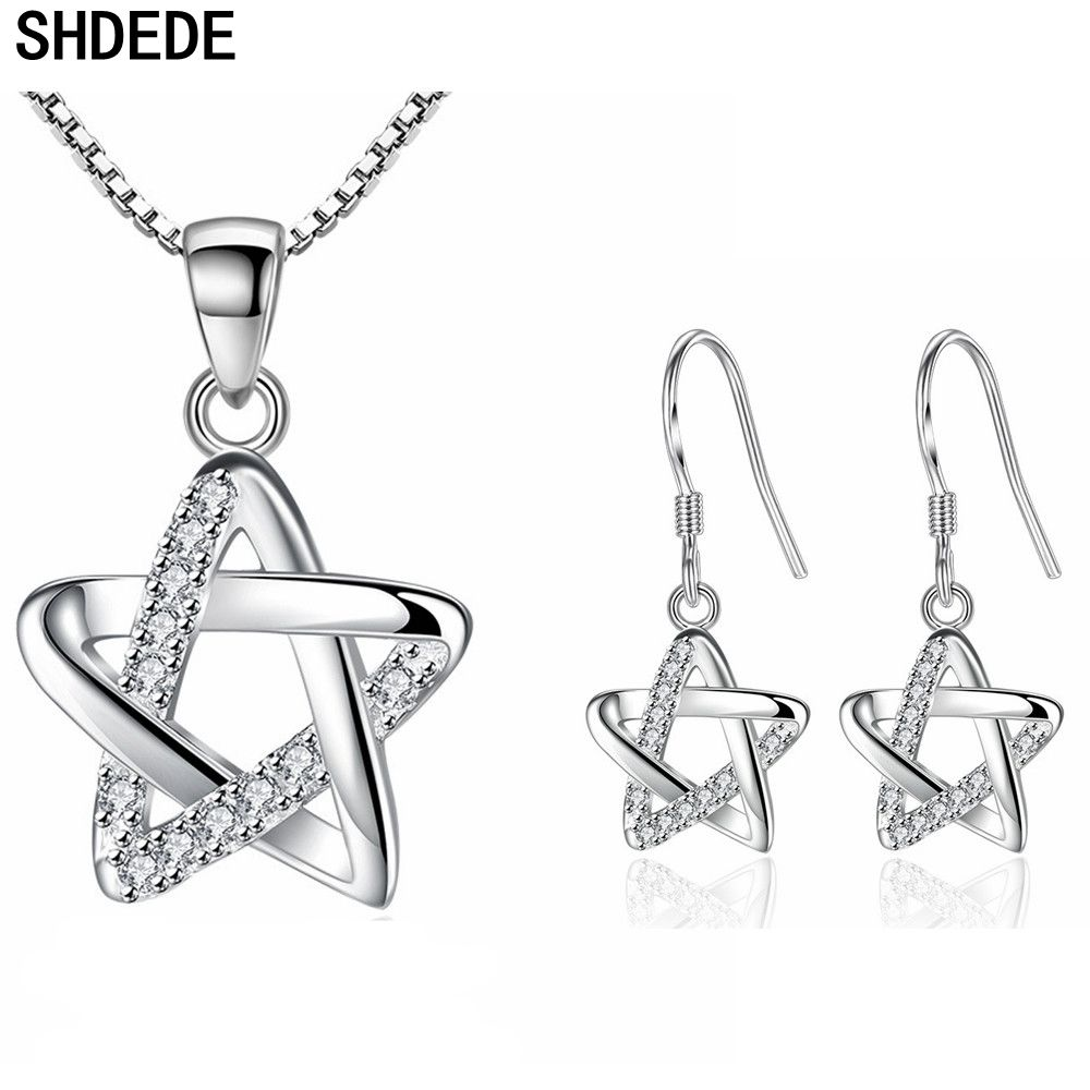 SHDEDE Korean Fashion Jewelry Sets For Women Necklace Earrings Hollowing Out Stars Cubic Zirconia Accessories -WH