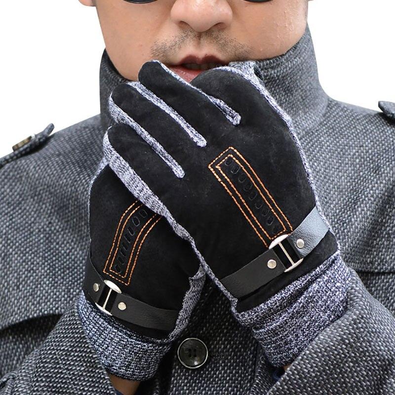 Men's Leather Ski Gloves Winter Thicken Fleece Warm Snow Gloves Outdoor Sport Motorcycle Snowboard Glove
