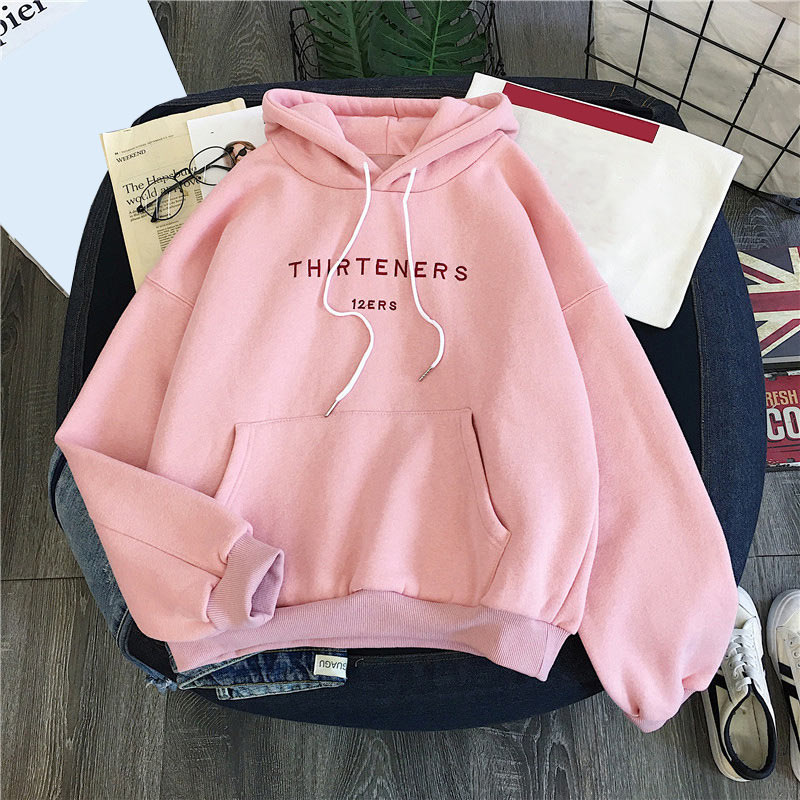 Plus Velvet Hoodies For Women Autumn 2019 Letter Printed Harajuku Pullovers Hooded Women's Hoody Casual Loose Sweatershirts