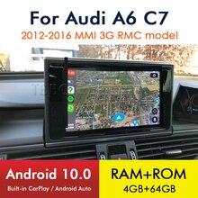 Android 10 8 Core 4 + 64GสำหรับAudi A6 S6 C7 4G 2012 ~ 2016 2017 2018 RMC MMI 3Gรถมัลติมีเดียเล่นวิทยุDVDสเตอริโอGPSนำทาง