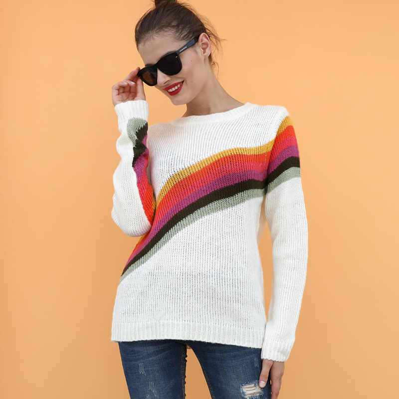 New Winter Women Knitted Sweater Rainbow Stripe Print O Neck Long Sleeve Loose Oversized Pullover Black/Blue/White