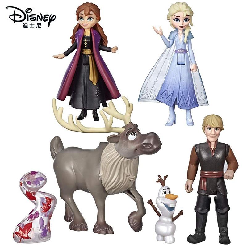 6pcs/set Genuine Frozen 2 Disney Elsa Anna Princess Doll Olaf Kristoff Cake Decoration Girls Figure Toys Birthday Christmas Gift
