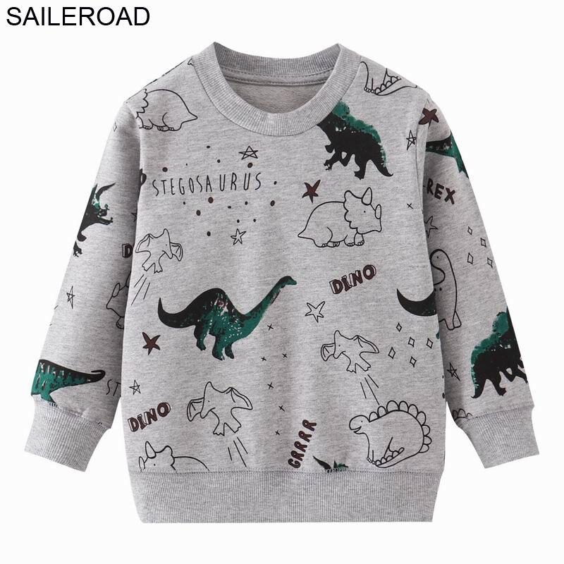 SAILEROAD Autumn Kids Sweatshirts Dinosaur Toddler Kid Baby Girl Boy Clothes Long Sleeve Cartoon Printed T-shirt Tops 5