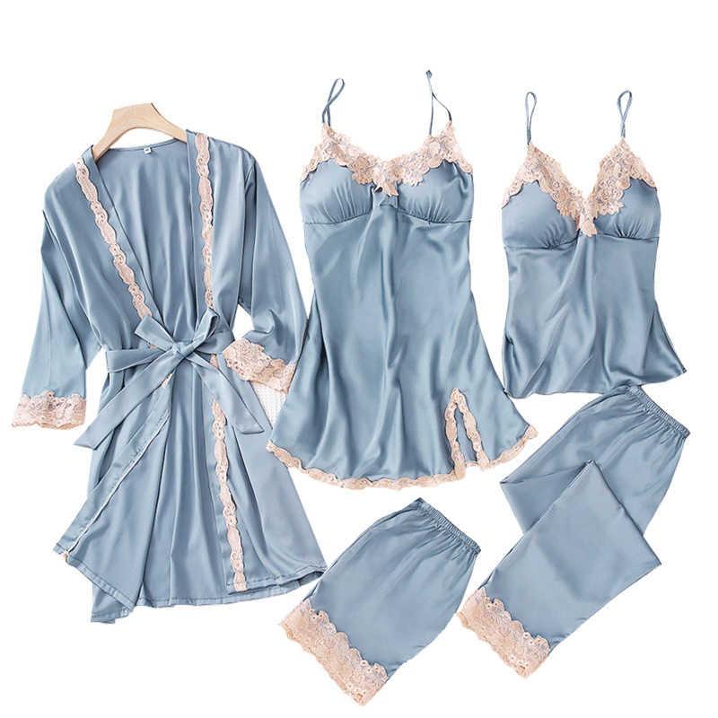 Sexy traje de primavera Kimono ropa de dormir conjuntos de mujer 5 piezas Correa Top pantalones traje Casual ropa de casa pijamas ropa de dormir Baño vestido de