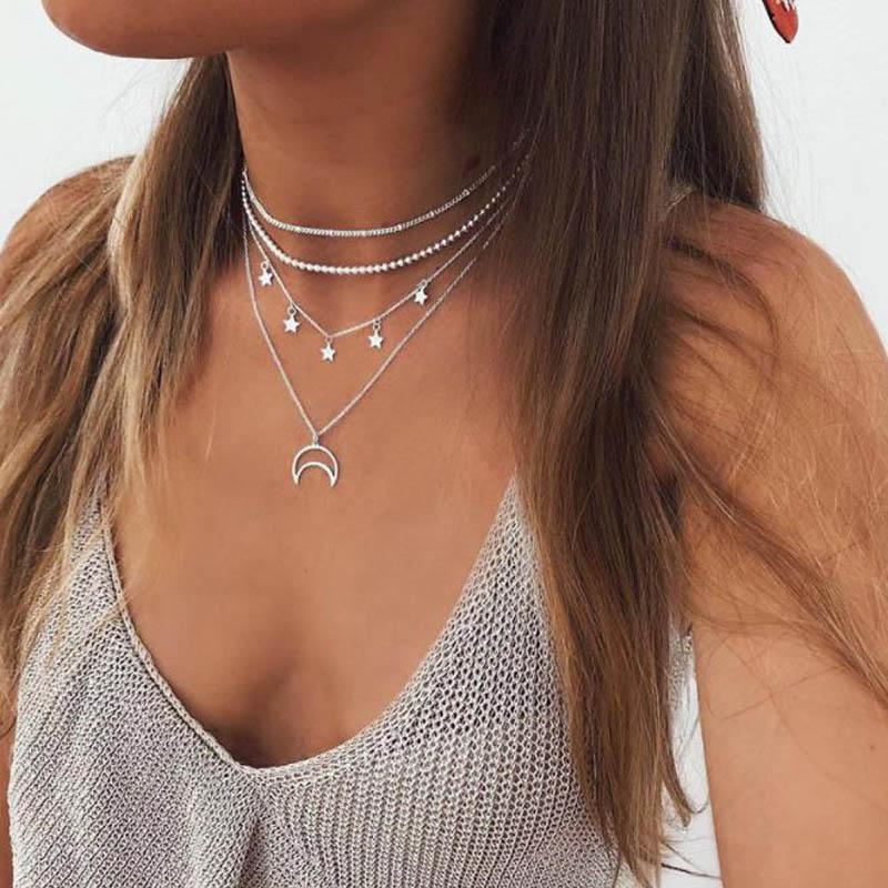 Bohemian Layered Chain Necklace Silver Color Choker Pendant Pentagram Moon Necklace egirl Angel Gift Neckless Women Boho Jewelry