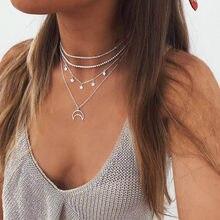 Colar corrente em camadas boêmia, gargantilha de prata com pingente de pentagrapa, colar de lua, presente de anjo, colar feminino, joias boho