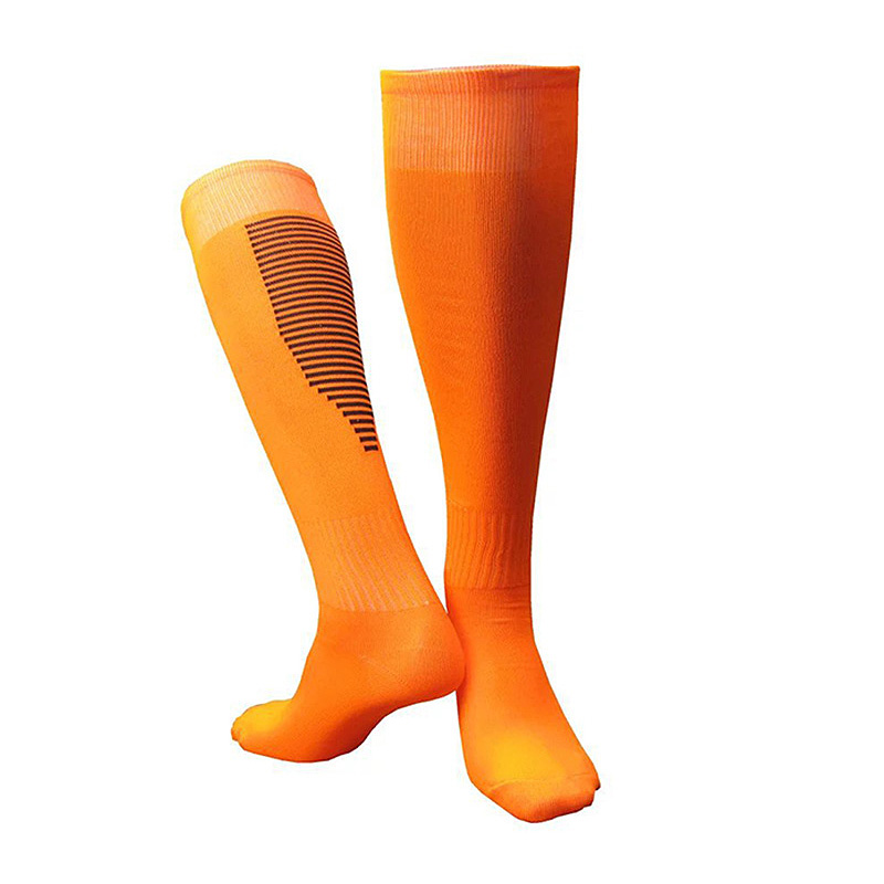 Men'S And Women'S Football Socks Thickened Breathable Sweat-Absorbent Over-The-Knee Football Training Stockings Orange