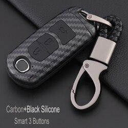 Smart 3 przyciski Carbon fiber samochodów klucz skrzynki pokrywa dla Mazda 2 3 5 6 8 Atenza Axela CX4 CX5 CX7 CX9 RX MX-5 Miata akcesoria samochodowe