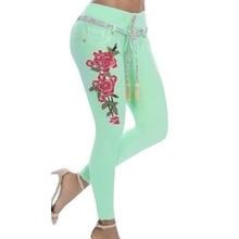 2019 Autumn New Female Stretch High Waist Skinny Print Embroidery Jeans Denim Pants Trousers Women Pencil Pant Plus Size 5XL цена 2017