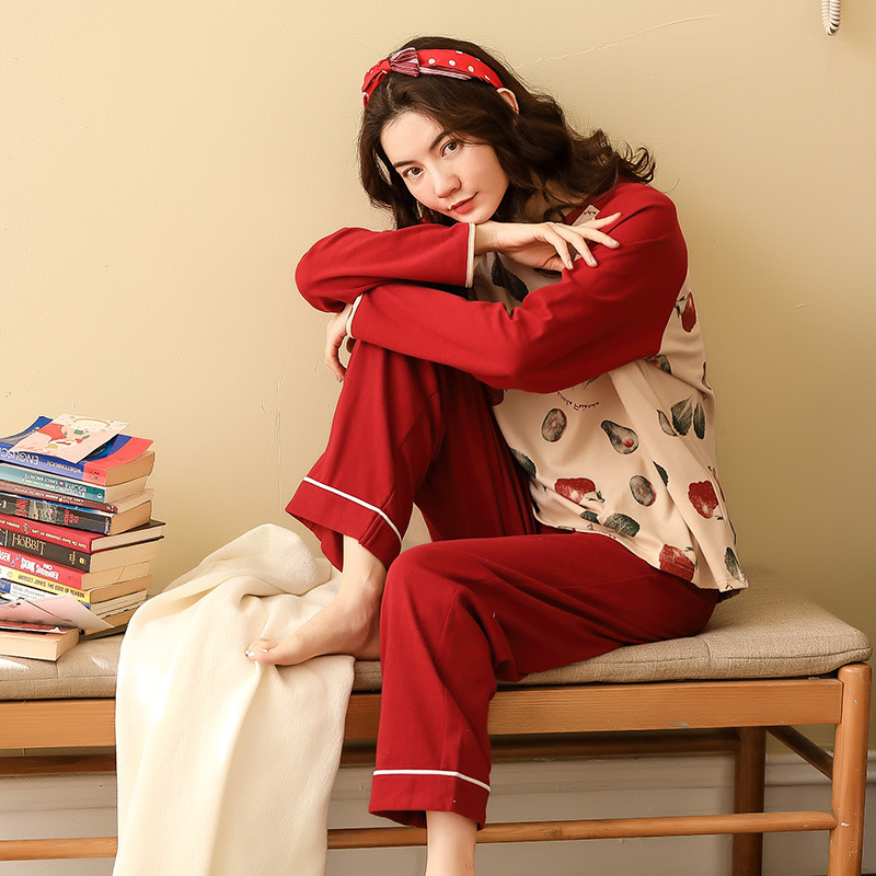Women Pajamas Sets Spring Autumn Long Sleeve Print Cute Cotton Sleepwear Big Girl Pijamas Mujer Leisure Student Pajama Tracksuit 35