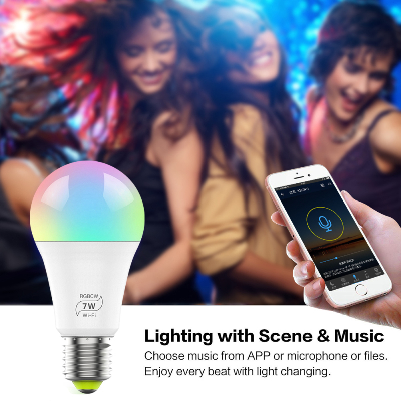 7W E27 Smart bulb wifi RGB led lamp dimmable timer intelligent bulbs work with Google home Alexa music control holiday lighting image