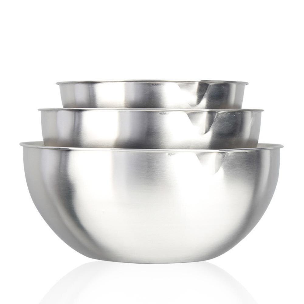 20/24/28cm bacia de mistura de aço inoxidável antiderrapante silicone inferior cozinha armazenamento tigela para sopa salada de frutas pão bolo tigela