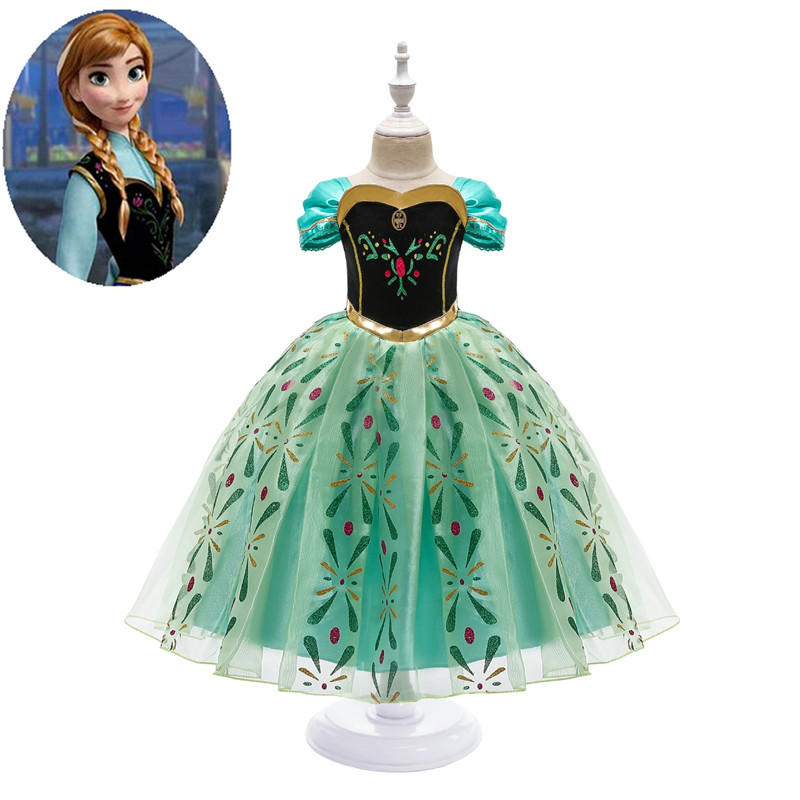 Anime <font><b>Frozen</b></font> <font><b>2</b></font> <font><b>Anna</b></font> Princess cosplay cotton 3D girls Halloween party performance costume children holiday dress And <font><b>wig</b></font> props image