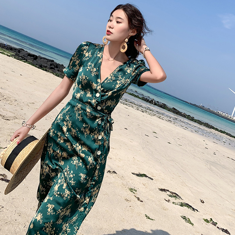 Summer Women Floral Print Green Satin Dress Slim Elegant Boho Vacation Tropical Midi Beach Dress Vintage Korean Runway Dresses