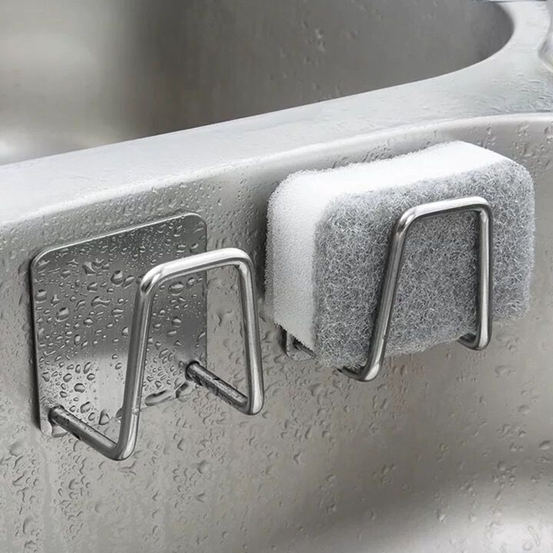 Kitchen Stainless Steel Sink Sponges Holder Self Adhesive Drain Drying Rack Kitchen Wall Hooks Accessories Storage Organizer