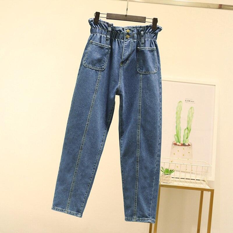 Plus Size 5XL Blue Paperbag Waist Harem Jeans 2019 Autumn Winter New Front Stripes Pockets Loose High Waist Denim Pants Trousers