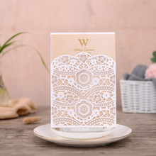 50pcs White Laser Cut Wedding Invitations Card Lace Flora Elegant Invites Cards Customize For Marriage Party Decoration
