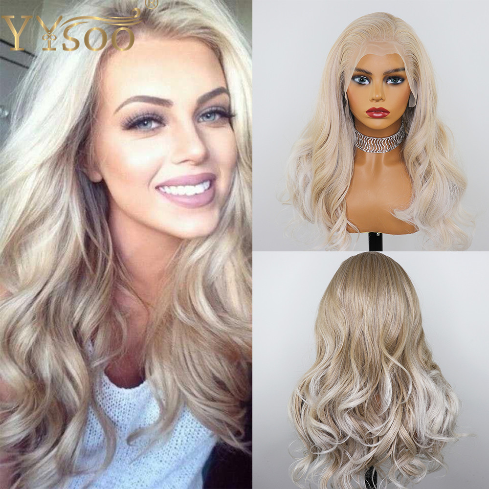 YYsoo13x6 Long Body Wave Glueless Lace Front Wigs Blonde Highlight Heat Resistant Japan Futura Synthetic Hair Wig Pre Plucked