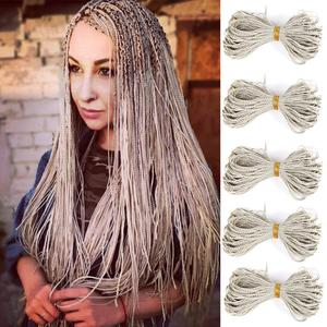 Zizi Box Braids Synthetic Thin Box Crochet Braids Eunice Hair Colorful Zizi Braiding Hair Extensions Black 613 Brown Hair(China)