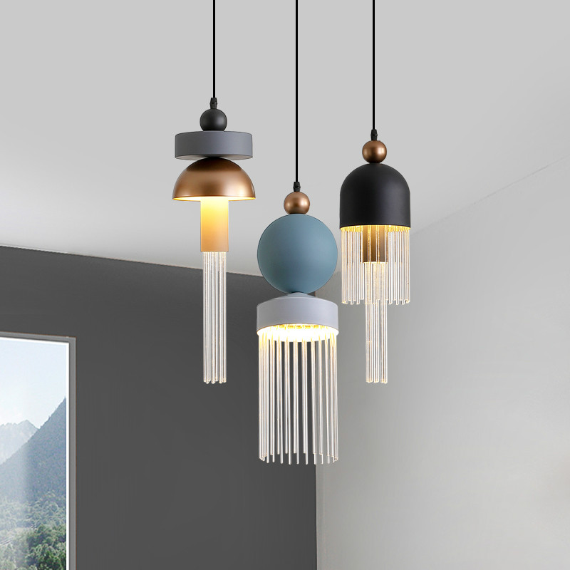 Nordic Post-modern Color Lustre Pendant Lights Modern Simple Bedroom Restaurant Bedside Lamp Hanging Lamp Home Decor Fixtures