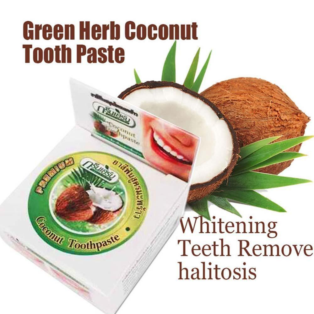 Whitening Toothpaste Coconut Oil Herbal Natural, Fresh Bright White 10g Breath, P3Y4