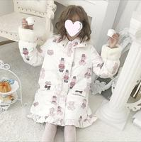 Autumn winter japanese sweet lolita coat thicken keep warm cute printing hooded victorian coat kawaii girl cotton padded jacket