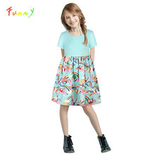 Summer Dress Girl Casual Short Sleeve Print Cat Unicorn Dress Princess Party Children Outfits Toddler Girls Clothes 8 10 12 Year(China)