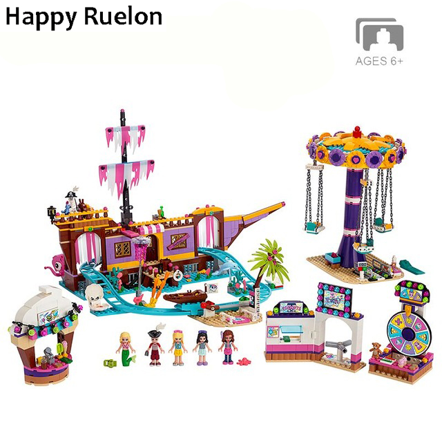 New Friends Set Amusement Park Fit For Legoingly Friends 41375 Model Building Block Bricks Toys For Girl Christmas Gifts