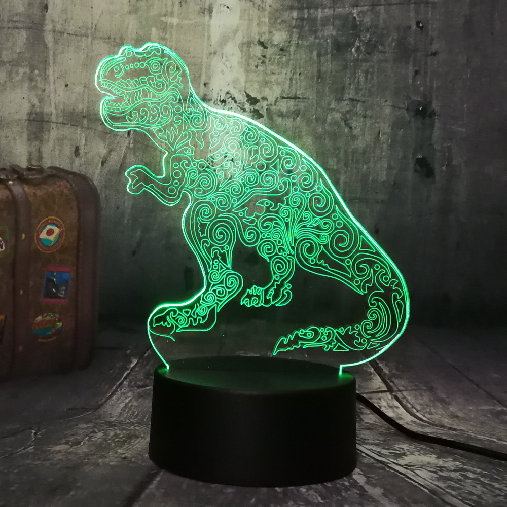 Cool Tyrannosaurus Rex Animal Dinosaur 3D LED Night Light Bedroom Decor Boys Kid Toy Birthday Christmas Gift Drop Shipping