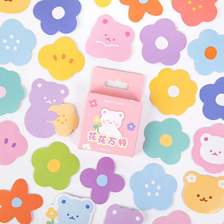 46 Pcs/box Cute Bear Flower Bullet Journal Decorative Stationery Mini Stickers Set Scrapbooking DIY Diary Album Stick Lable
