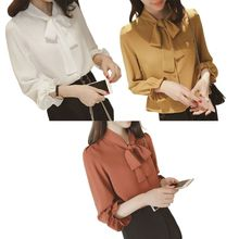 Womens Plus Size Lantern Sleeves Blouse Vintage Bow Tie V-Neck Office Tops Solid Color Button Up Loose Chiffon Shirts M-4XL