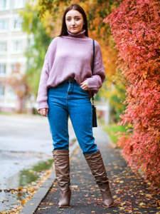 Harem Jeans Fleece Warm LYZCR Vintage High-Waist Woman Women's Velvet Mom Loose