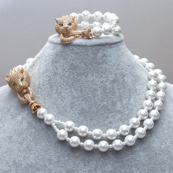 GrayBirds Shell Pearl Copper Fittings AAA CZ Animal Leopard Panther Necklaces bracelets New Style Gifts For Women Jewelry Sets