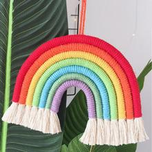 Ins Nordic Style Woven Rainbow Jewelry Wall Hanging Art Childrens Home Decorations Room