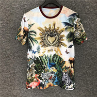 Europe hot fashion Men/women's high quality cotton Tee tops Chic animal print women's loose T shirt B477