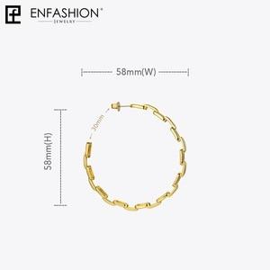 Image 5 - Enfashion Dạng Nguyên Chất Liên Kết Dây Chuyền Đôi Khuyên Tai Vòng Cho Nữ Vòng Tròn Lớn Treo Tường Màu Vàng Earings Trang Sức Aros Orecchini Cerchio EF1083
