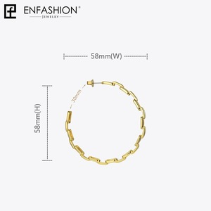 Image 5 - Enfashion Pure Form Link Chain Hoop Earrings For Women Big Circle Hoops Gold Color Earings Jewelry Aros Orecchini Cerchio EF1083
