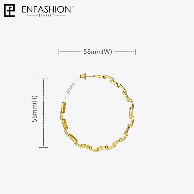 Купить женские круглые серьги кольца enfashion из звеньев с цепочкой картинки цена