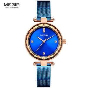 Image 5 - MEGIR Relógio de Luxo Mulheres Marca de Topo Vestido À Prova D Água Relogio feminino Malha Azul Milan Pulseira Moda Relógios de Quartzo Senhora 4211