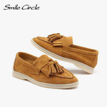 Smile Circle/loafers Women flats shoes cow-suede Slip-On Genuine Leather tassel Ballets Flats Shoes women Moccasins size 36-42 - discount item  50% OFF Women's Shoes