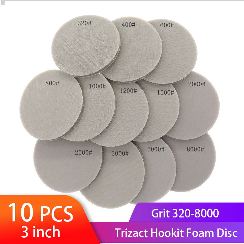 """3 """"disco de espuma de 75mm trizact hookit molhado & seco disco de lixa de spong 320-8000 grit polimento buffer lixa ferramentas abrasivas de papel"""