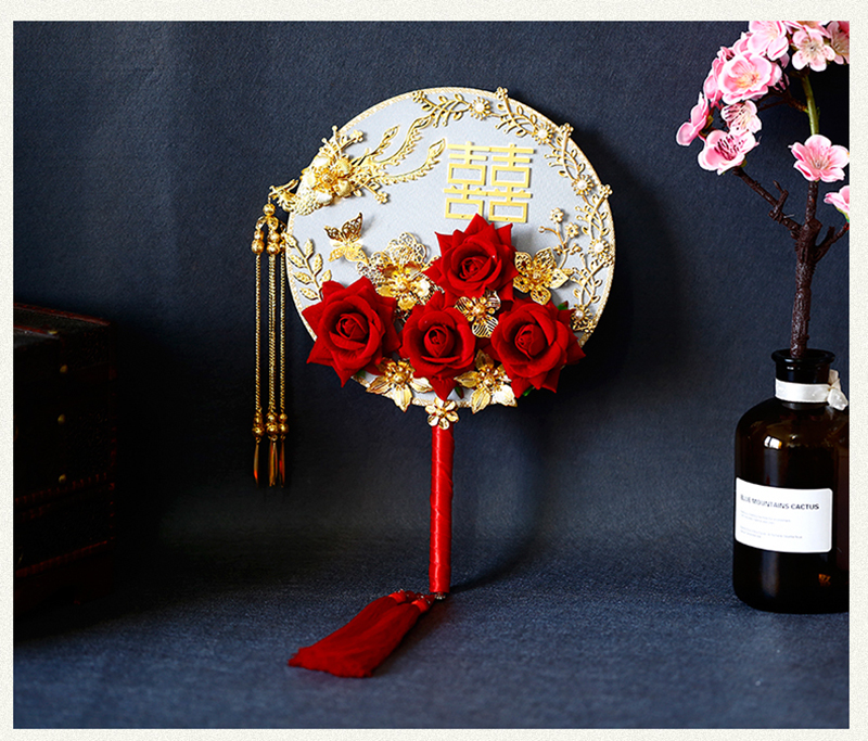 NiuShuya Exquisite Chinese Handmade Fan Wedding 3D Red Roses Double-Sided Hand Fan Gold Phoenix Costume Photography Accessories