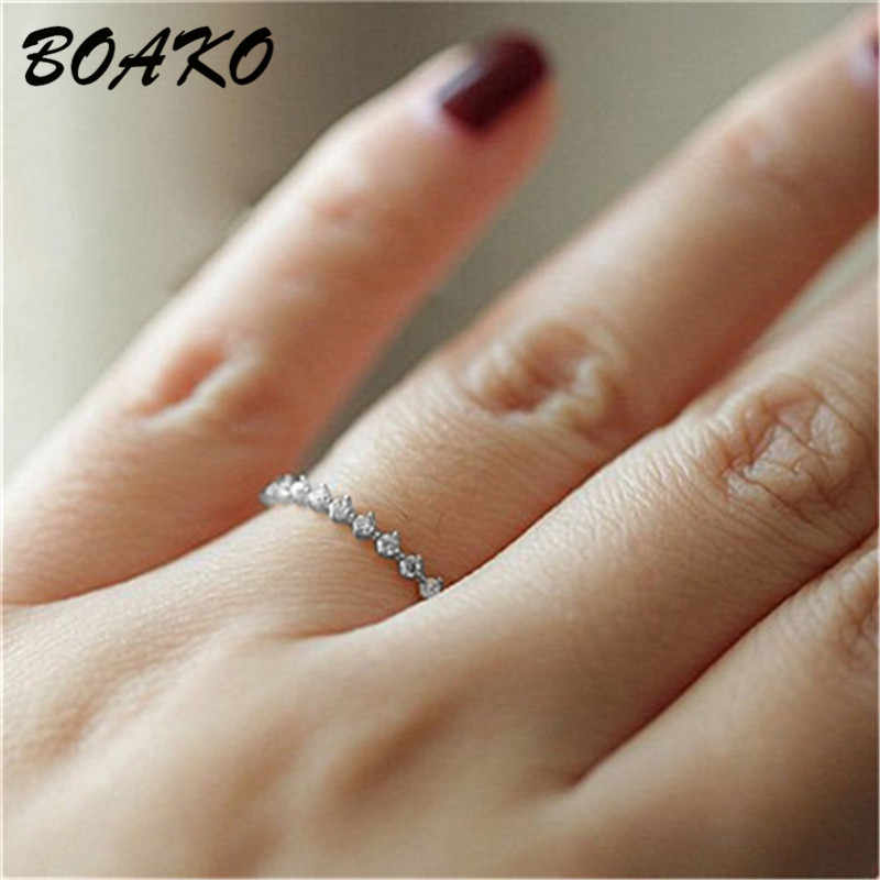 BOAKO 2019 New Women's Jewelry Micro Pave Cz Zircon Crystal Ring Dainty Wedding Band Eternity Stacking Ring Finger Couple Rings