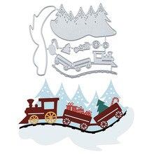 Naifumodo Рождественский поезд штампы металла резки штампы для изготовления карт Скрапбукинг штамп для теснения с вырезами трафарет ремесло штампы