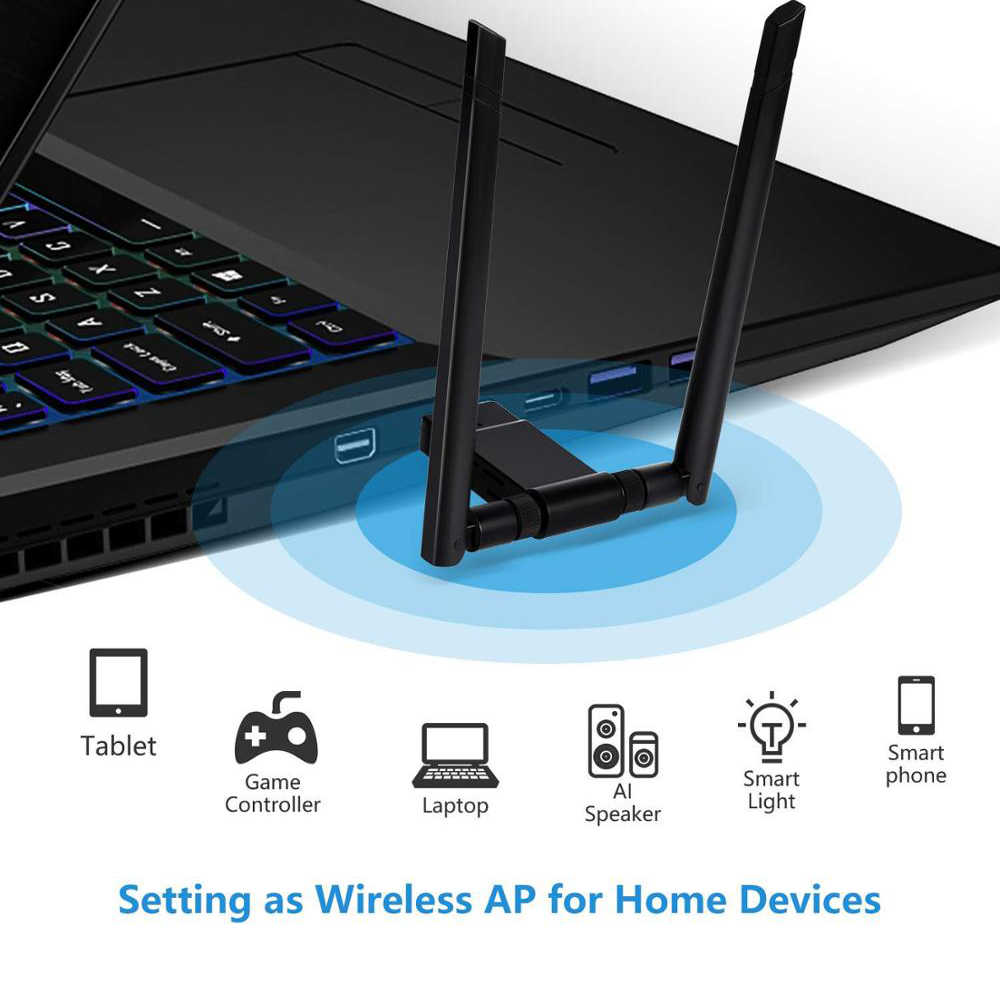 1200Mbps USB Wifi program kilidi adaptörü 5Ghz 2.4Ghz USB Dual Band RTL8811AU Wifi anten LAN kartı Windows Mac için masaüstü/dizüstü bilgisayar/PC