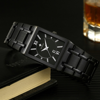Bsuiness Men Watch With Stainless Steel WWOOR Top Brand Luxury Square Quartz Watches Mens Waterproof Date Wrist Watch Clock xfcs reloj hombre wwoor men square watches slim white watch men steel mesh waterproof business date quartz wrist watch gift male xfcs